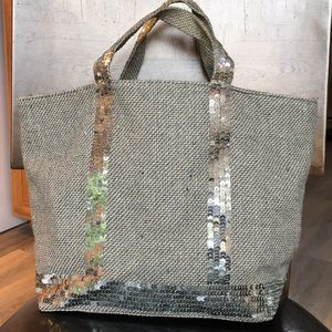 Steve Madden Gray Fabric Tote Bag w/Silver Sequins